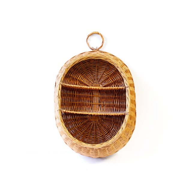 Vintage Boho Wicker Basket Shelf - Image 2 of 4