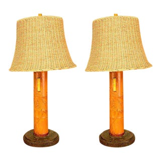 Hollywood Regency Pair of Bamboo Table Lamps