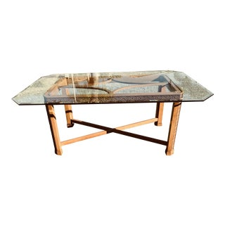 Glass Top Wood Dining Table
