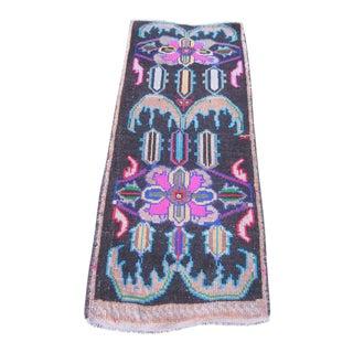 """Turkish Black Wool Pile Small Vintage Rug - 1'7"""" x 3'10"""""""