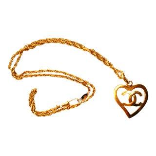 Chanel Gold Heart CC Long Pendant Necklace