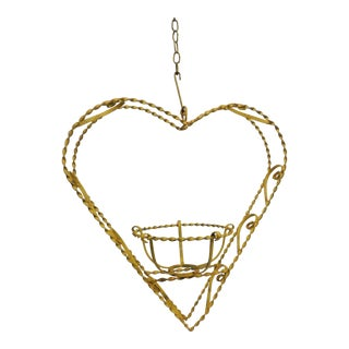 Vintage Heart-Shaped Yellow Planter