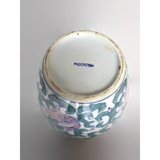 Koi Fish Chinoiserie Ginger Jar Vase - Image 4 of 5