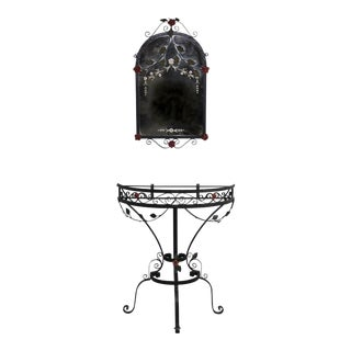 Vintage Beaux Arts Iron Demi-Lune Table, Matching Mirror With Cut Metal Flowers & Vines - A Pair