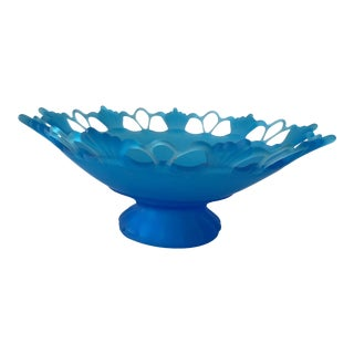 Frosted Blue Art Deco Footed Glass Bowl