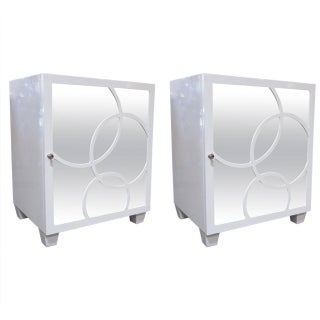 White Lacquer Mirrored End Tables - Pair