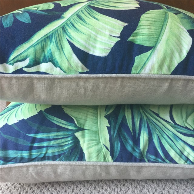 Palm Print Regency-Style Pillow Covers - A Pair - Image 4 of 5