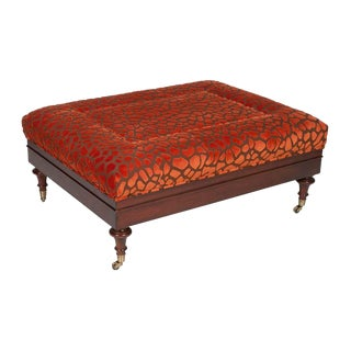 Orange Upholstery Cocktail Ottoman