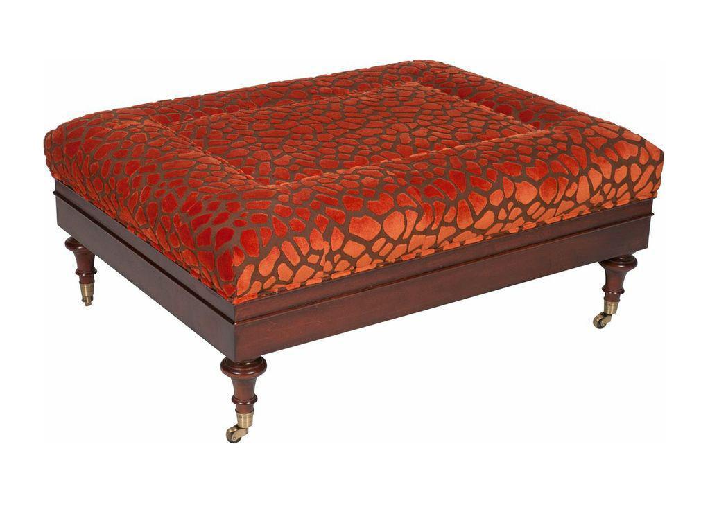 Orange Upholstery Cocktail Ottoman
