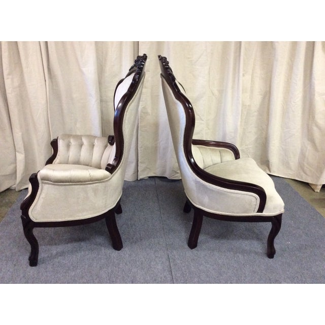 Wooden Victorian Chairs - Pair - Image 4 of 11