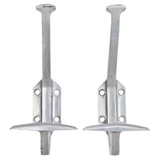 Vintage French Aluminum Coat Hooks - A Pair