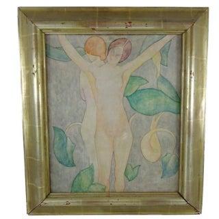 """Art Nouveau """"Two Nudes"""" Painting"""
