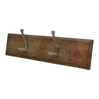 Wooden Two Aluminum French Hooks on Wooden Plank