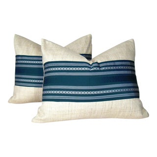 Blue & White Striped Pillow Covers - A Pair