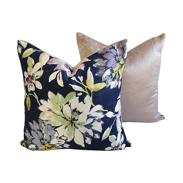 Custom French Floral Silk & Linen Pillows - A Pair - Image 4 of 7