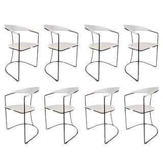 Set of Eight White Leather Chairs with Gunmetal Frames: Arrben, Italy