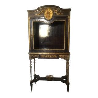 1800's Louis XVI Style Vitrine Cabinet on Stand With Gilt Bronze Belle Epoque Era