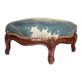 Mid-19th Century French Louis XV Carved Walnut Footstool