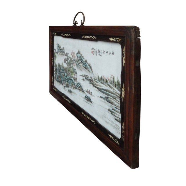 Image of Chinese Porcelain Painting Mountain Wall Panel