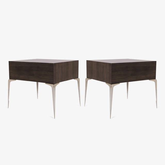 Colette Nickel Nightstands in Ebony & Ivory by Montage, Pair - Image 5 of 9