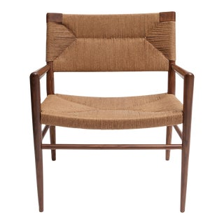 Hand Woven Rush and Walnut Armchair by Smilow Furniture