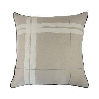 "Brushstroke Plaid Silver Grey 22"" Pillow"