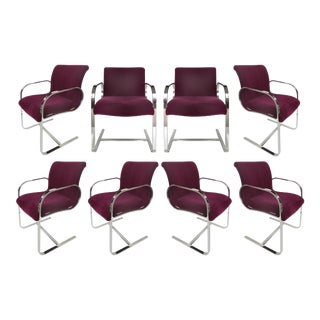 Brueton Mid-Century Modern Stainless Steel Dining Chairs - Set of 8