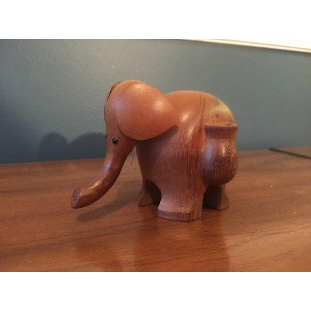 Vintage Hand Carved Teak Elephant Tooth Pick Holder - Image 3 of 7