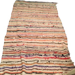 "Vintage Striped Moroccan Rag Rug - 4'8"" X 8'9"""