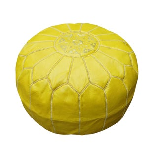 Yellow Moroccan Leather Pouf