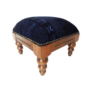 Indigo Mud Cloth Footstool