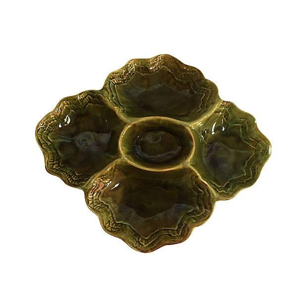Handmade Green Drip Glazed Ceramic Platter - Image 2 of 4
