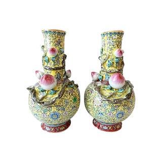Famille Jaune Porcelain Vases, S/2