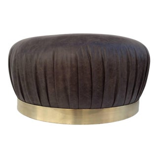 Large-Scale Leather and Brass Ottoman by Karl Springer
