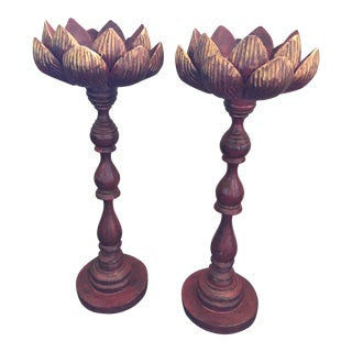 Hand Carved Lotus Candlesticks - A Pair