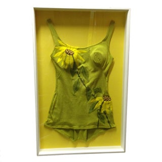 Framed Vintage Sunflower One-Piece Suit