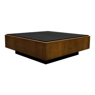 Mid Century Oak and Slate Floating Square Coffee Table by Milo Baughman