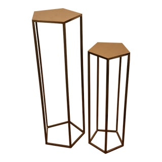 CB2 Polygon Metal Pedestal Tables - A Pair