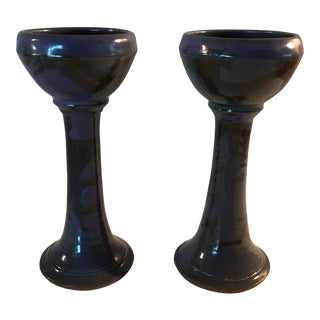 Hand Crafted Blue Candlesticks - A Pair
