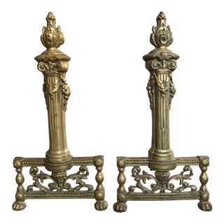 19th Century French Andirons - A Pair