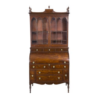 Federal Classical Cylinder Front Secretary with Ivory Inlay
