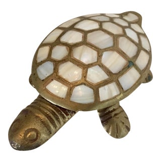 Mother-Of-Pearl & Brass Inlay Turtle Trinket Box