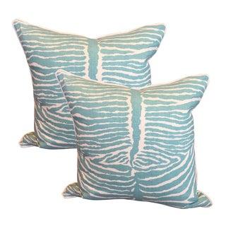 Aqua Zebra & Cream Pillows - A Pair
