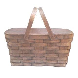 Vintage 1940s Oak Woven Picnic Basket