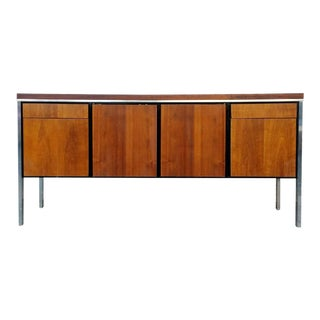 Walnut & Chrome Credenza with File Cabinet