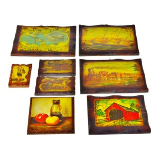 Vintage Carved Wood Decoupage Wall Art Plaques - Set of 8