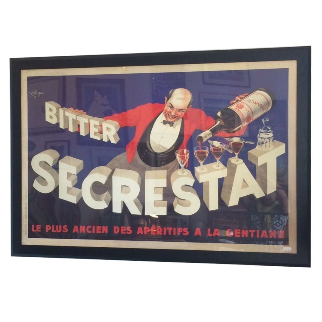 large framed french poster secrestat bitters chairish