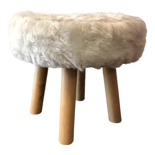 White Faux Fur & Wood Stool