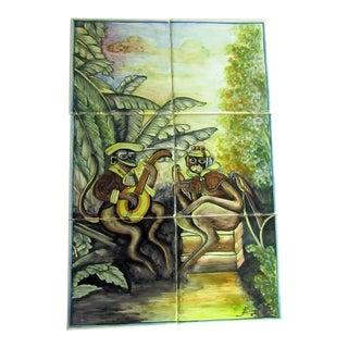 Tropical Monkey Scene, 6 Tile Set Unmounted