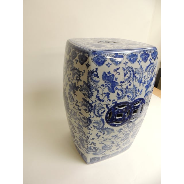 Vintage Blue & White Garden Stool - Image 3 of 7